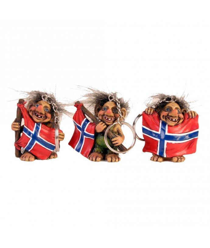 PŘÍVĚSEK NA KLÍČE S NORSKYM TROLLEM A VLAJKOU