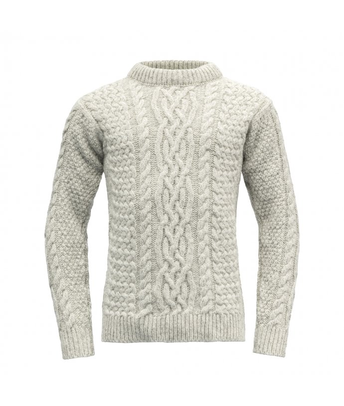 Teplý vlněný svetr s klasickým pleteným vzorem Devold Sandoy Unisex