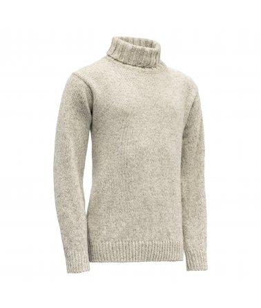 Klasický teplý vlněný svetr svysokým límcem Devold Nansen
